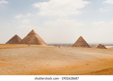 View of the Great Pyramids in the Giza Plateau, Egypt