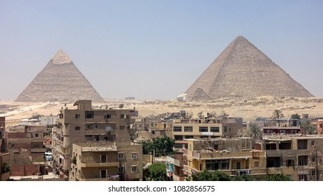 View of the Great Pyramids with the Giza Skyline in the Foreground