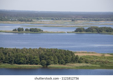 View of great river during summer. Dniepr Dnipro, Ukraine
