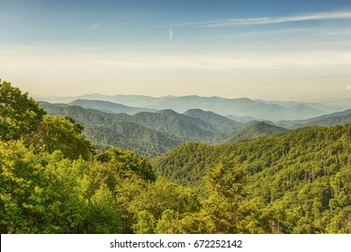 View of the Great Smoky Mountains from the top of Clingman's Dome in the border of Tennessee and North Carolina.