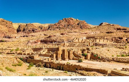 View of the Great Temple and the Arched Gate at Petra, Jordan