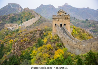 A View of the Great Wall of China in the Fall