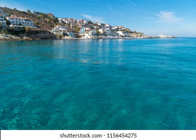 a view from a greek island ikaria with cyrstal clear turquoise water