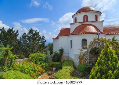 A view of a Greek's church with a panorama of a sea, Greece