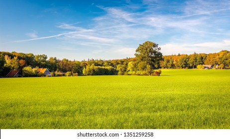 View of green fields, farms and dense forests located at the Tankenberg (near the city of Oldenzaal) on a sunny october day but sun is setting. This is a typical Dutch landscape