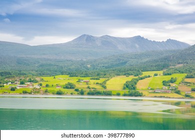 View of the green fields and fjords in Norway in summer