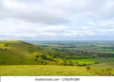 View Of the Green Hills of South Downs National Park in England