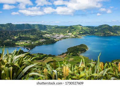 View to Green Lake and Blue Lake (Lagoa Verde and Lagoa Azul), Ponta Delgada, Sao Miguel island, Azores, Portugal