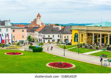 View of green square in front of the famous esterhazy palace in the austrian city Eisenstadt, capital of Burgenland region.