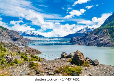 View of Grey Glacier with Iceberg floating in Grey Lake at Torres del Paine National Park in Southern Chilean Patagonia, Chile