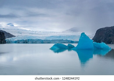View of Grey Glacier and icebergs at Torres del Paine National Park in Chile