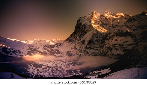 View to Grindelwald and Wetterhorn in Switzerland in January 2017