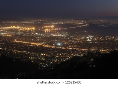 The view from Grizzly Point in the Berkeley Hills offers views of Berkeley, Oakland and San Francisco.