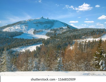 View to Grosser Arber Mountain in bavarian Forest,lower Bavaria,Germany