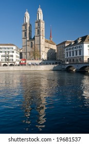 View of Grossmunster Cathedral, Zurich, with reflections in Limmat River
