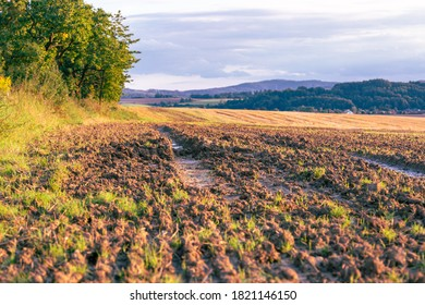 View of the ground with a furrow from a tractor with a blurred background