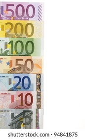 view of a group of all euro banknotes