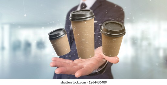 View of a Group of cardbox coffee cup with connection 3d rendering