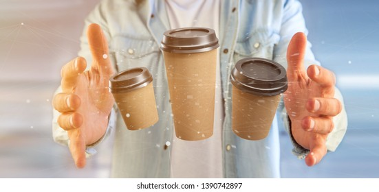 View of a Group of cardbox coffee cup with connection