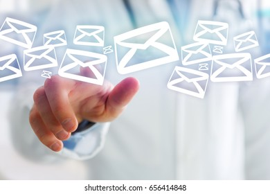 View of a Group of email icon displayed on a futuristic interface - Communication concept