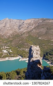 View to Guadalest Valley and the beautiful cantained green lake in the provience of Alicante, Spain