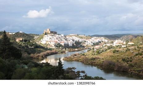 View of the Guadiana river and the scenic village of Mertola, Alentejo, Portugal