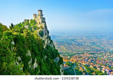 View of the Guaita fortress located on the peak of Monte Titano in San Marino. The country is situated inside Italy and the fifth smallest country in the world.