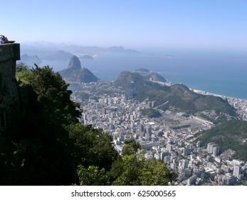 view of Guanabara Bay and  Rio De Janeiro city  Brazil