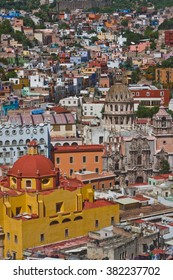 View of Guanajuato, Mexico, with Closeup on Orange Church