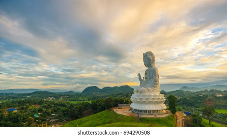 View of Guanyin. on pagoda during twilight at Huai Plakang temple in Chiangrai  Thailand