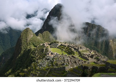 View from Guardhouse. Mt Huayna Picchu (Waynapicchy) is at the background. Machu Picchu - the lost ancient Inca city, located on the territory of modern Peru.