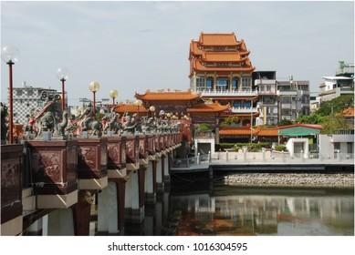View of Guardian buddhist temple from a bridge on Lotus Pond in Kaohsiung, Taiwan