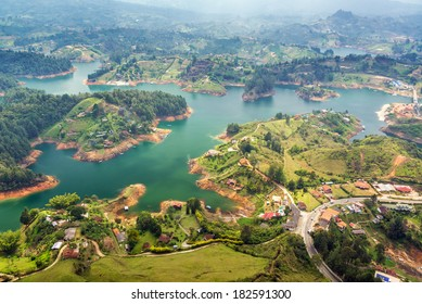 View of Guatape Lake from high above in Colombia