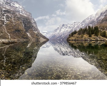 view from Gudvangen village towards fjord, Norway