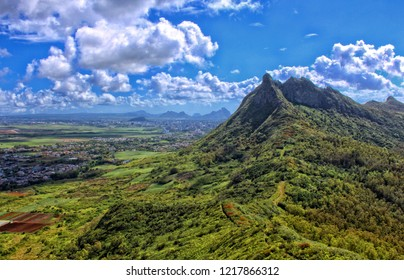 View of Guiby peak and Moka range from the summit of 'Le Pouce' mountain located in Saint-Pierre, Mauritius