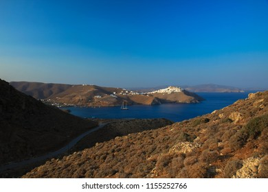 View of the gulf in Chora village in Astypalaia island, Greece