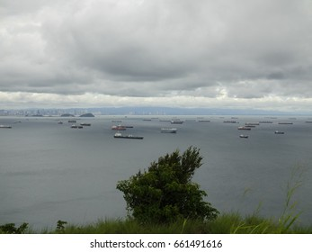 View of the Gulf of Panama from Taboga island mountain. Pacific ocean. Central America