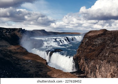 VIew of Gullfoss, Iceland. The Great Watefall.