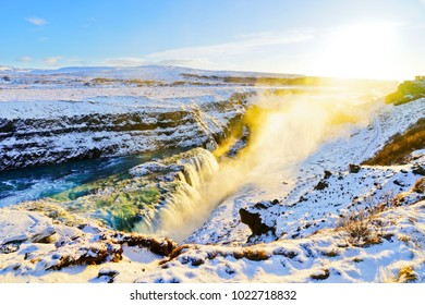 View of Gullfoss waterfall in winter, where is on the popular route of Golden Circle in southwest Iceland.