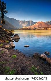 View of Gunung Baru Jari at Danau Segara Lake, Mount Rinjani in the morning.