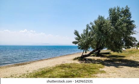A view from the Gure beach in Edremit, Balikesir, Turkey.