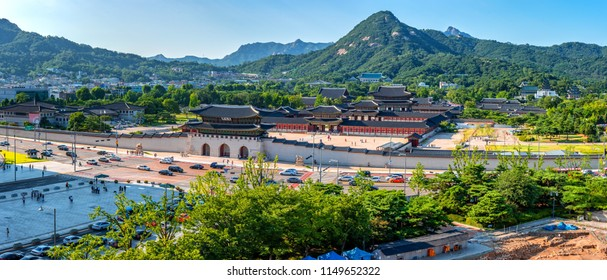 view of gyeongbokgung palace at seoul city korea