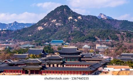 view of gyeongbokgung palace in spring at seoul city south Korea