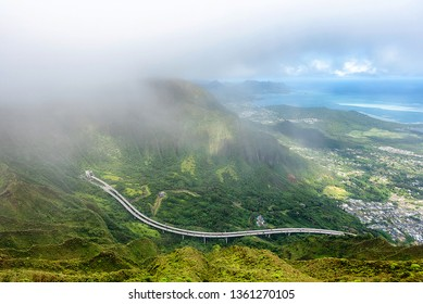 View of the H3 highway and the east side of Oahu, Hawaii as seen from the top of Koolau Mountain Range