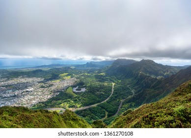 View of the H3 highway, Kaneohe and Kailua on the east side of Oahu, Hawaii as seen from the top of Koolau Mountain Range