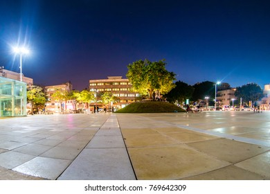 View of Habima square at night in Tel Aviv, Israel.