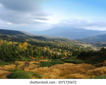 "View from Hachimantai Mikaeri Pass (mountainous plateau), Iwate, Japan, Translation: ""Mountain Pass Looking Back"""