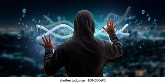 View of a Hacker activating a 3d rendering data coded Dna with binary file around