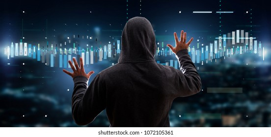 View of a Hacker activating Business stock exchange trading data information