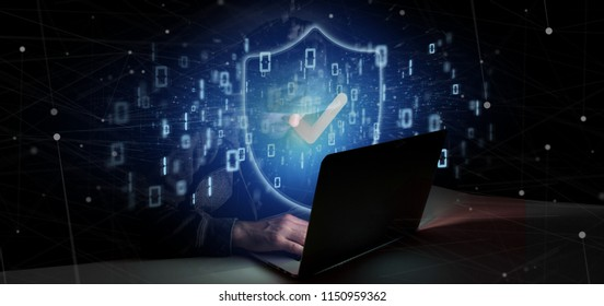 View of a Hacker Man holding a padlock web security concept 3d rendering